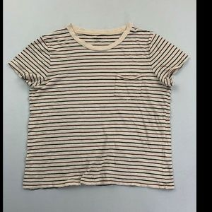 Madewell Beige Striped Short Sleeve Patch Tee